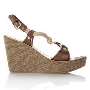 Miu Miu by Prada Calf Gold Wedge Platform Sandals